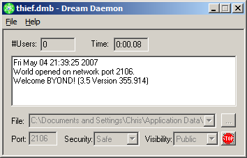 Screenshot of Dream Daemon hosting a game.